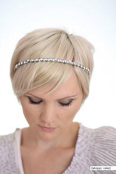 rhinestone headbands on pixie cuts so soft and elegant