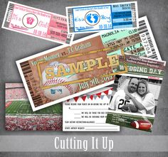 Baseball Wedding Invitation, SAMPLE PACKAGE, Baby Shower, Programs, Save The Date, RSVPs, Escort Tickets, Football,Basketball,Sports Wedding by CuttingItUp