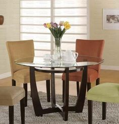 Amazon.com: Round Dining Table with Glass Top Cappuccino Finish: Furniture & Decor  kitchen table?