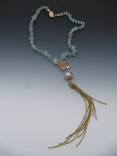 Aquamarine, red quartz, antique French brass seed beads, fresh water pearls LuciaAntonelli.com