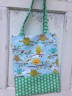 Owl Tote Bag-Library Bag by whimsiedots on Etsy