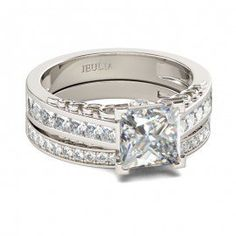 Jeulia Hollow Princess Cut Created White Sapphire Wedding Set