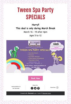 This deal is only during March Break March 16 - 19 after Ages 5 to 12 Spa Birthday Parties, Spa Party, Spa Services, Photo Makeup, Tween, Birthdays, March, Purple, Box