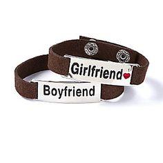 Boyfriend/Girlfriend Faux Leather Cuff Bracelets