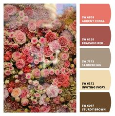 #Paint colors from #ChipIt! by #SherwinWilliams refined sophisticated muted but bold sturdy brown ardent coral bravado red roses inspired mother bedroom guestroom craft room grandmother palette traditional pinks corals burgundy reds and browns warm #palette