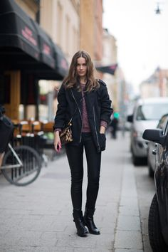 Jacket + sweater from Isabel Marant, leggings from Helmut Lang, boots from Celine and bag from Dolce & Gabbana.