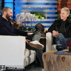 @Regrann from @cheryl_alyson -  Jamie on Ellen. He looks so cute! I love his new look! || Jamie and Ellen spoke about Fifty Shades Darker, out next month. Jamie spoke a bit about his wife Amelia, his body hair, and more... #jamiedornan #ellen #fiftyshadesdarker - #regrann