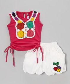 Red Crocheted Tank & White Shorts - Infant, Toddler & Girls #zulily #zulilyfinds