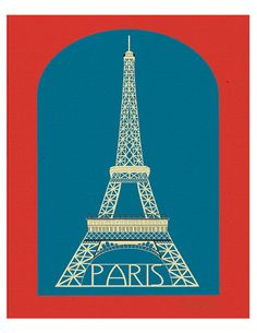 Paris France - Eiffel Tower - Graphic Art Poster Print for Home or Office Decor - style E8-O-SP1. 8x10. $26.00