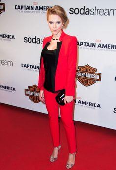 Scarlett Johansson.. Michael Kors blazer, cropped trousers and Malia Metallic Leather Sandals..