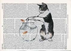 Another Illustration of Kitten plays with fish  Print on Upcycle Vintage Page Book Print Art Print Dictionary Print Collage Print by SheriDictionaryPrint on Etsy