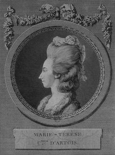 Princesse Marie-Thérèse de Savoie, Comtesse d'Artois (1756-1805); gravure de 1778.