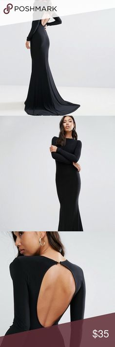 ASOS Club L Open Back Maxi Dress with Fishtail US4 This black fishtail dress with a keyhole back is a stunner!  Worn once so it is in perfect condition!  Size US 4 - please let me know if you have any questions! ASOS Dresses Maxi