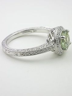 seafoam green engagement ring  | Antique Style Green Sapphire Engagement Ring, RG-3142
