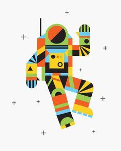 Hello Spaceman Art Print #illustration