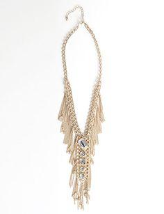 Gold Chain Tie Necklace, flirtcatalog.com