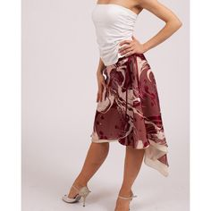 Tango Skirt Dance Apparel Silk Satin Chiffon Skirts Dance Wear... ($139) ❤ liked on Polyvore featuring grey, skirts and women's clothing