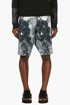 V Ave Shoe Repair Slate Blue Print Acid Shorts for men | SSENSE