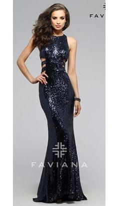 Navy Blue Sexy Sequin Sleeveless Long Dress
