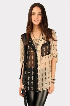 Awesome Baby Cross Pocket Blouse - Beige at Necessary Clothing