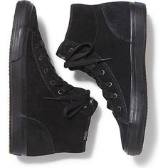 Keds Double Up Hi Suede ($80) ❤ liked on Polyvore featuring shoes, sneakers, black black, black suede shoes, suede shoes, keds high tops, lace up sneakers and black shoes