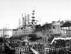 October 11,1904: Launch of the Georgia Battleship #15 at Bath Iron Works, Bath, Maine.