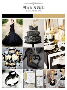 Black and gold wedding inspiration board via Weddings Illustrated