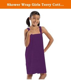 """Shower Wrap Girls Terry Cotton Ladies Cover Up Purple Medium, Made in US. - Made of 100% cotton, triple sheared, terry velour fabric. - Loop Terry Cloth Inside & Smooth Velour Outside. - Available Colors: Black, Aqua, Hot Pink, white, light pink, red, purple, orange and lavender - It is made 100% absorbent environment friendly high quality cotton. - Small Size: Length 21"""" ; Max Waist 37"""" - Medium Size: Length 26"""" ; Max Waist 46"""" - 11 oz/yd. Fabric & Care - Machine washable, wash in warm..."""