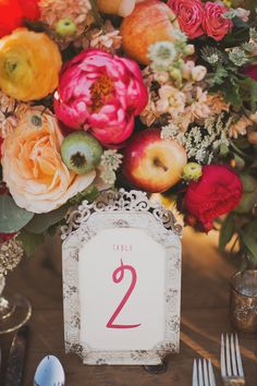 framed table number // photo by Nessa K, styling by Sarah Park Events // http://ruffledblog.com/apple-orchard-wedding-inspiration