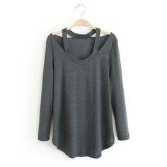 Autumn 2015 new blouses shirts women street style cut out long sleeve blusas femininas fashion casual bandage blouse top sale