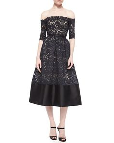 ML Monique Lhuillier Off-the-Shoulder Lace Cocktail Dress, Black/Nude $598.00 NMF16_TA7TS