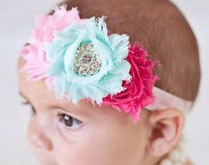 Coral Mint and Ivory Baby headband Shabby by BabyBloomzBoutique