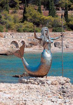 Γοργόνα Σπέτσες Mermaid Cove, Greece Islands, Beautiful Fairies, Greek Art, Island Life, Fairy Tales, Sculptures, To Go, In This Moment