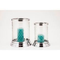 Elizabeth Diamond Cut Glass Huricane Candle Holders (Set of 2)