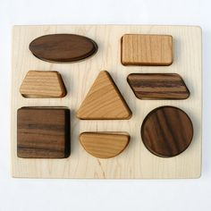 Deluxe Shapes Puzzle, organic chunky wood puzzle for babies and toddlers on Etsy, $36.00