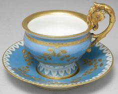 Blue & Gold Limoges Porceline Teacup & Saucer