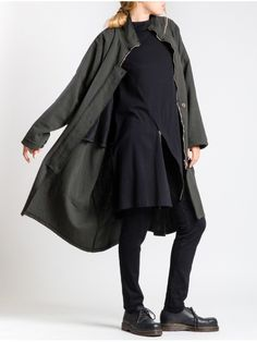 Oversized Rustic Cotton Coat With Fleece Lining On Top by LURDES BERGADA