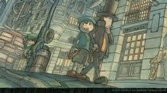 professor layton concept art look at Clive watching them