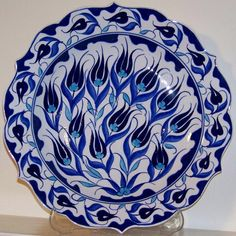 Handmade Turkish Iznik Floral Ceramic Plate
