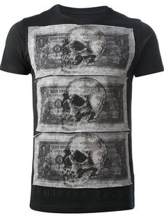 Philipp Plein Dollar And Skull Print T-shirt - Smets - Farfetch.com