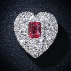 Antique Red Spinel and Diamond Heart Pendant #Antique#heart