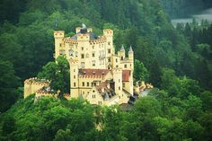 """Schloss Hohenschwangau a 19th Centenary Castle in Bavaria. Built by King Maximillian II and it was the childhood home of the """"swan king"""" King Ludwig II. The composer Wagner was a frequent visitor."""