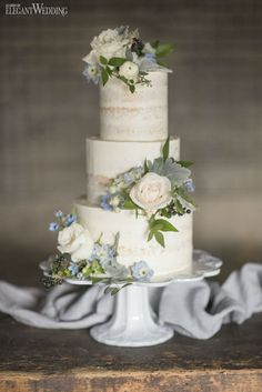 Rustic wedding cake with real flowers! SOMETHING BLUE WEDDING THEME WITH GREENERY www.elegantwedding.ca
