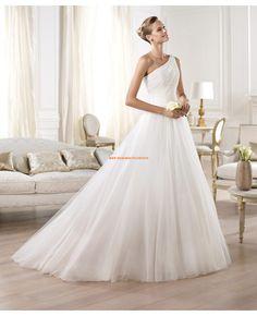 2014 Dramatische Brautkleider aus Satin und Chiffon Einschulter
