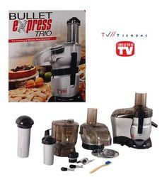 BULLET EXPRESS TRIO Procesador con dos aditamentos intercambiables para alimentos, uno para mezclar, cortar y picar. Otro para jugos.