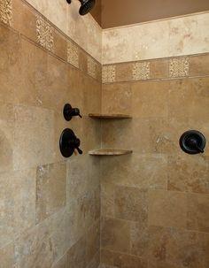 Noce travertine with Oceanside Mandala Arabesque decos - mediterranean - bathroom - louisville - Robin Cramer Master Shower Tile, Bathroom Tub Shower, Tub Shower Combo, Shower Tiles, Master Bathroom, Big Shower, Shower Door, Travertine Shower, Mediterranean Bathroom