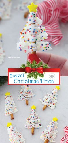 Take a look at these incredible Christmas trees made with pretzels. They are a quick treat that is delicious and fun. Using candy melts makes this treat so easy to make. The combination of the sweet a Easy Christmas Treats, How To Make Christmas Tree, Holiday Snacks, Christmas Sweets, Christmas Goodies, Christmas Baking, Christmas Fun, Holiday Recipes, Christmas Recipes