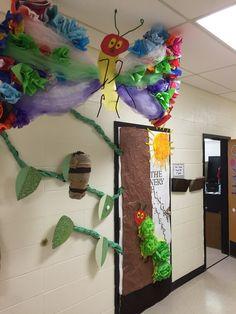 Read Across America door decor for The Very Hungry Caterpillar Hungry Caterpillar Classroom, Hungry Caterpillar Activities, Very Hungry Caterpillar, Eric Carle, Classroom Displays, Classroom Themes, Preschool Rooms, Class Decoration, Reading Fair