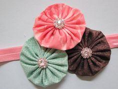 Pink Aqua and Brown TRIPLE Yo Yo flower headband by TheElegantElla, $12.50