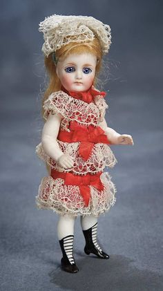 "Theriault's - 7"" Gorgeous All-Bisque Miniature Doll in Original Costume for the French Market, c 1880"